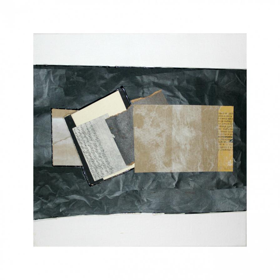 laura scaringi-collage grigio incerto-collage su tela 2014-60x60