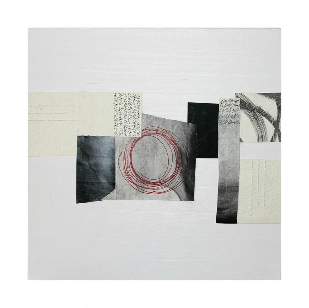 laura scaringi-collage verso il bianco-tecnica collage su tela 2013 misure 60x60